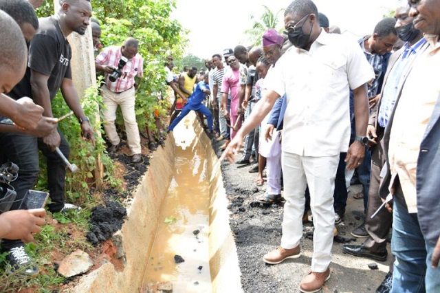 Edo deputy governor inspecting the project on Tuesday