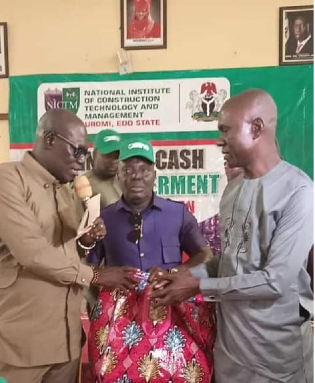 Delta PDP Chairman, Chief Kingsley Esiso, Rep Efe Afe and a beneficiary