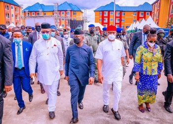 L-R: Sole Administrator of NDDC, Akwa; Senator Godswill Akpabio, Vice President Yemi Osinbajo and  Governor Nyesom Wike of Rivers State during the commissioning of Police SPU Complex in Port Harcourt on Tuesday