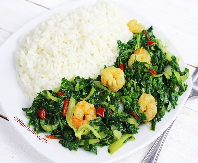 spinach shrimps stir fry