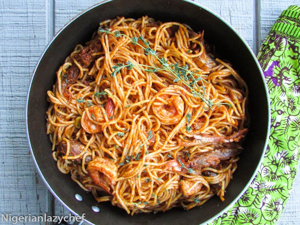 Very Easy Spaghetti Jollof Nigerian Lazy Chef