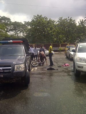 Nigeria police officers strip okada man naked