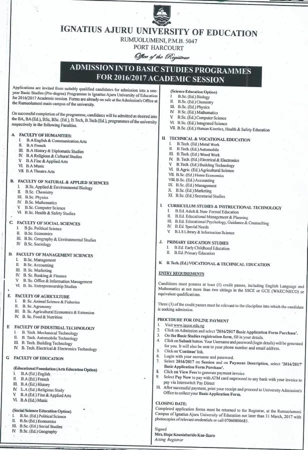 Ignatius Ajuru University, IAUE Basic Programmes Admission