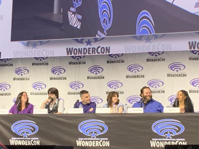 The cast of NOS4A2 has a laugh during the panel