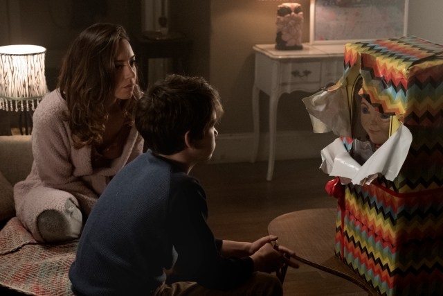Karen surprises Andy with a Buddi doll (voiced by Mark Hamill) in CHILD'S PLAY