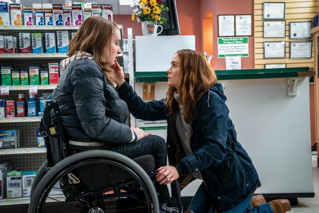 Diane comforts Chloe after a run in at the pharmacy in the thriller, RUN.