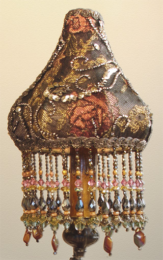 Nightshades Gold Metallic Lace Hand Beaded Lampshade