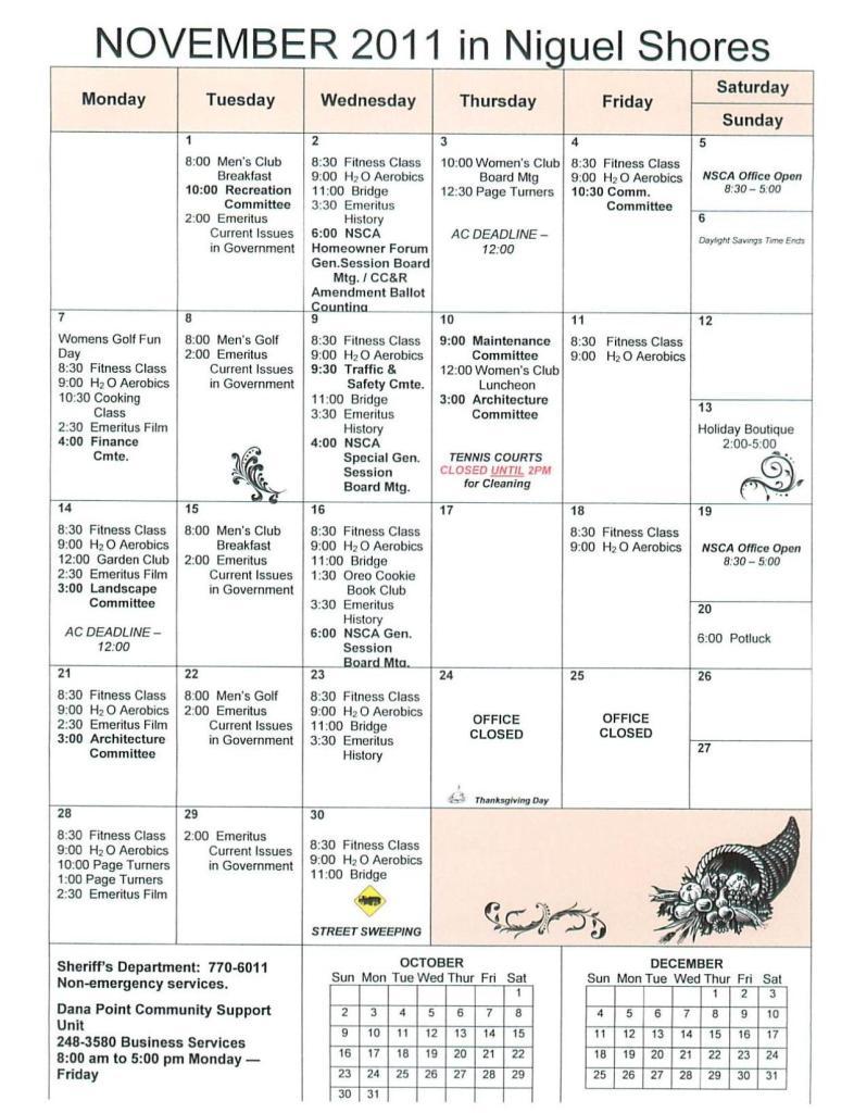 Niguel Shores November Calendar