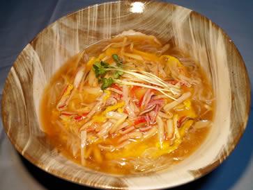 サツマイモ冷麺アレンジレピシカニ玉天津あんかけ風