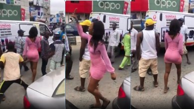 Photo of Watch how lady rain curses on a man in public