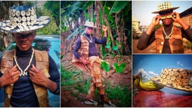 Photo of Young man makes fashionable jacket, hat and shoes with plantain and banana leaves [Photos]