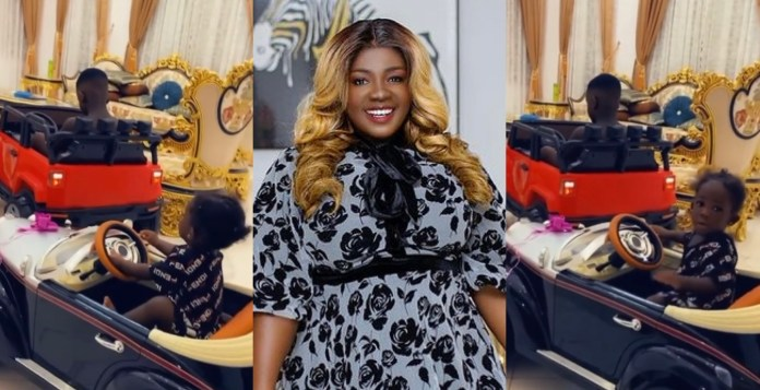 Tracey Boakye Shares Video Of Her Children Enjoying Their Ride In Their Mini Cars