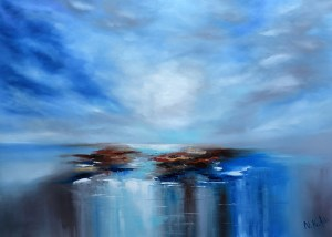 blue abstract sea painting