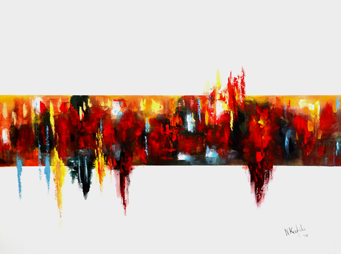 colorful abstract painting red yellow blue