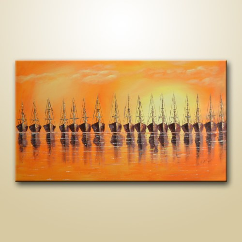 expressionist sailboats painting