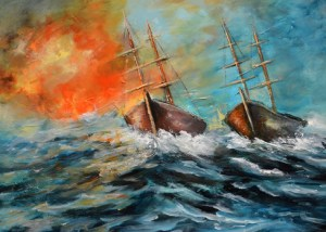 abstract sailboat painting