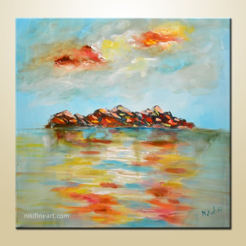 abstract sea painting on canvas
