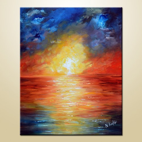 abstract-sea-painting on canvas