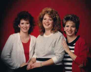 Robin, Colleen, and Dawn Miller, Patty's daughters.