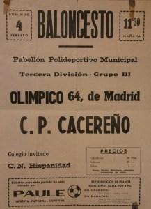 Cartel del partido C.P. Cacereño contra el Olímpico 64 celebrado el 4 de febrero de 1979 en Cáceres.