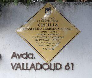 Placa dedicada a Cecilia. Avenida de Valladolid. 1961.