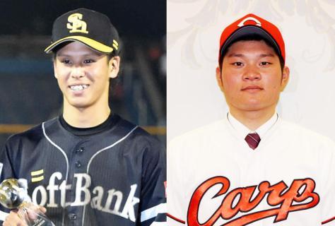 ソフトバンク曽根海成(左)と広島美間優槻
