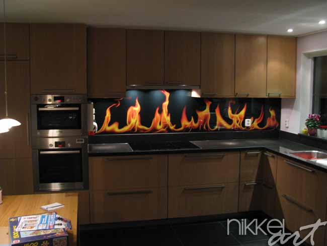 Crdence de cuisine en verre imprim Flamme