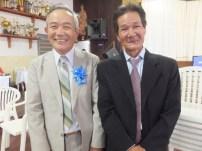 「式典が何とか成功してよかった」と喜ぶ芝田全宏さん(左)、中田一男さん