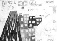 写真展を機に同校独自に日伯をテーマにした美術作品も製作・展示された。左が富士山で右がポン・デ・アスーカル