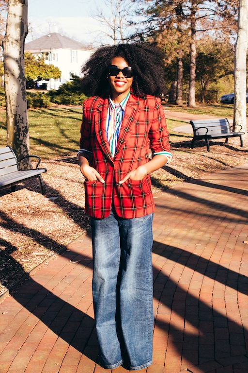 thrifted-red-plaid-blazer-thrifted-white-rainbow-striped-button-up-shirt-hm-blue-wide-legged-jean-pants-3