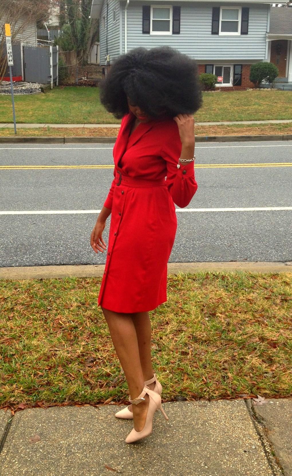 Vintage Red Long Sleeve Dress 2