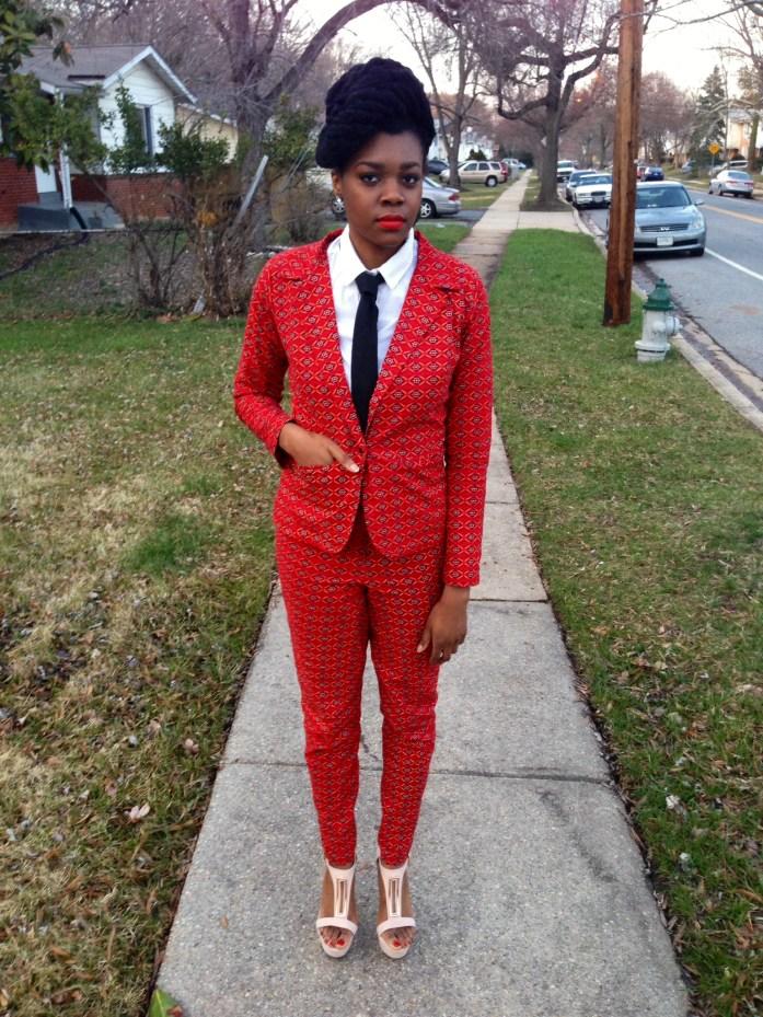Red Ankara Suit & Tie 1