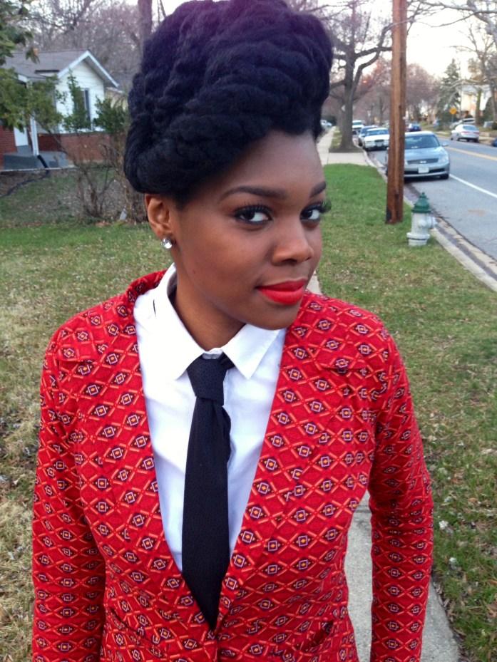 Red Ankara Suit & Tie 5