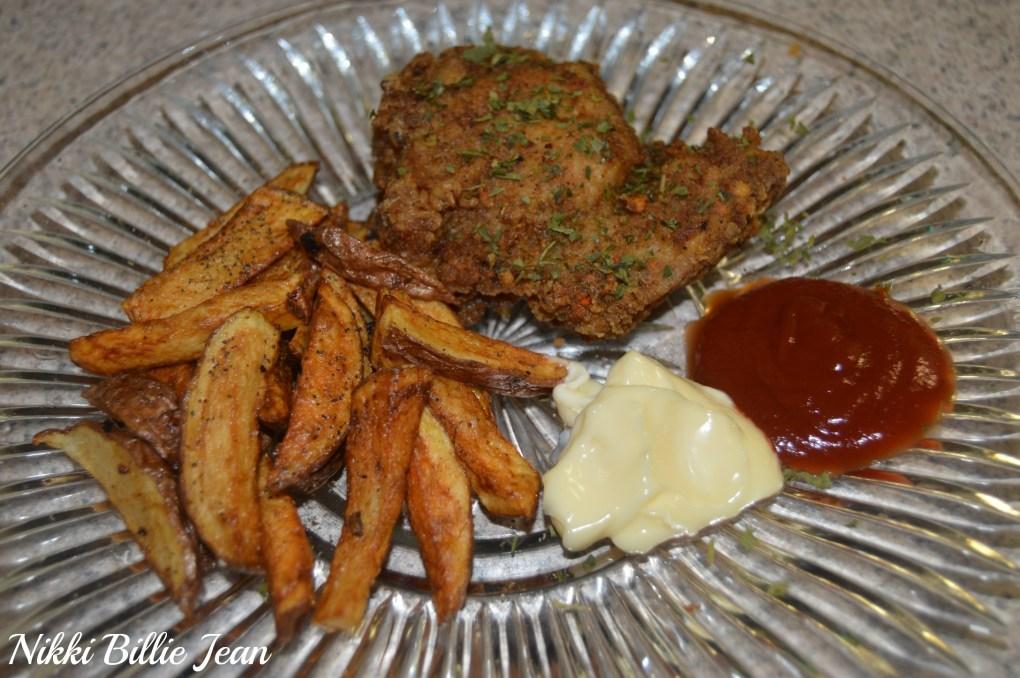 Homemade Organic Fried Chicken Breast & Red Potato Fries