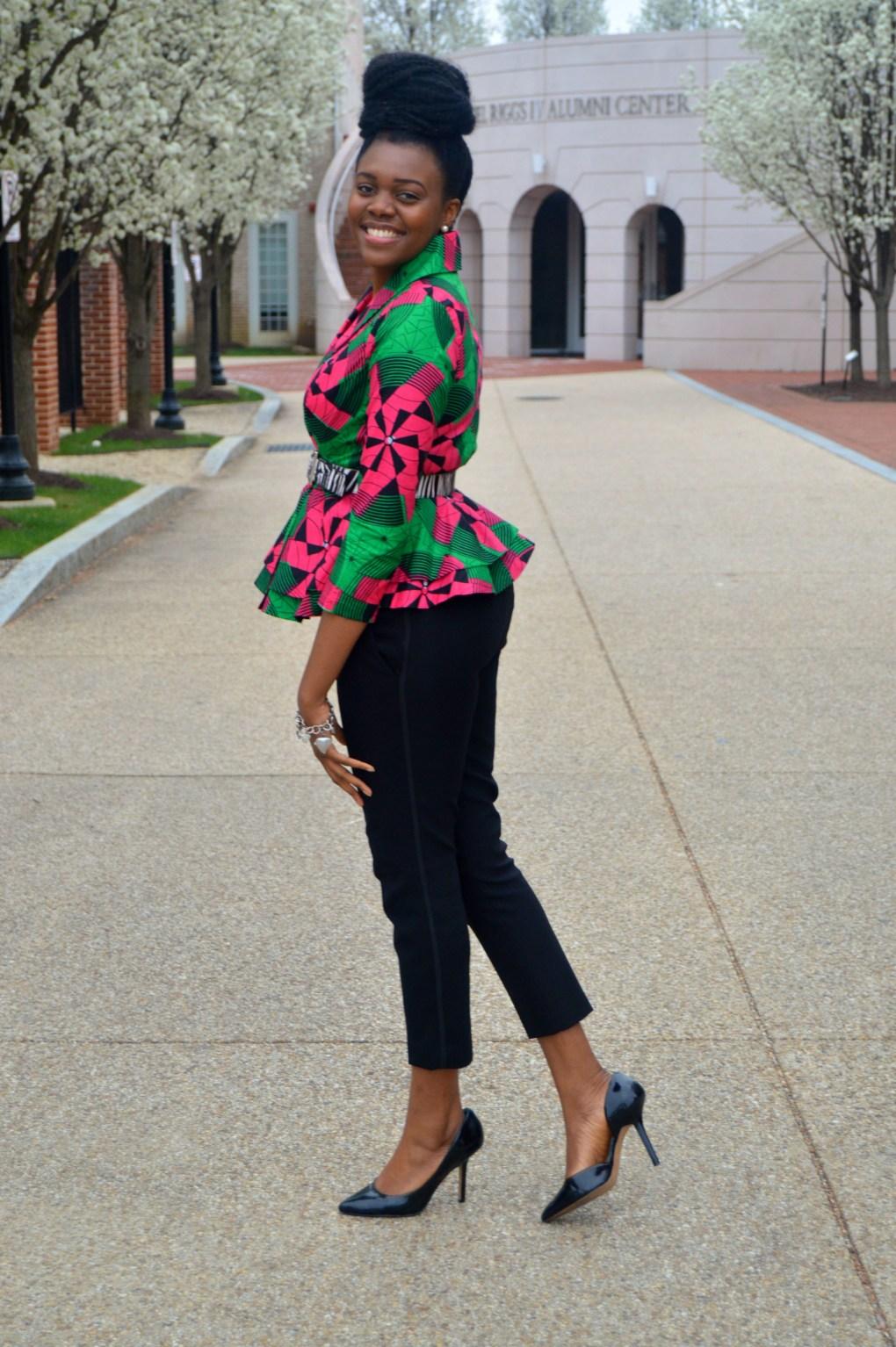 Nikki Billie Jean Pink and Green Ankara Print Peplum Jacket 1