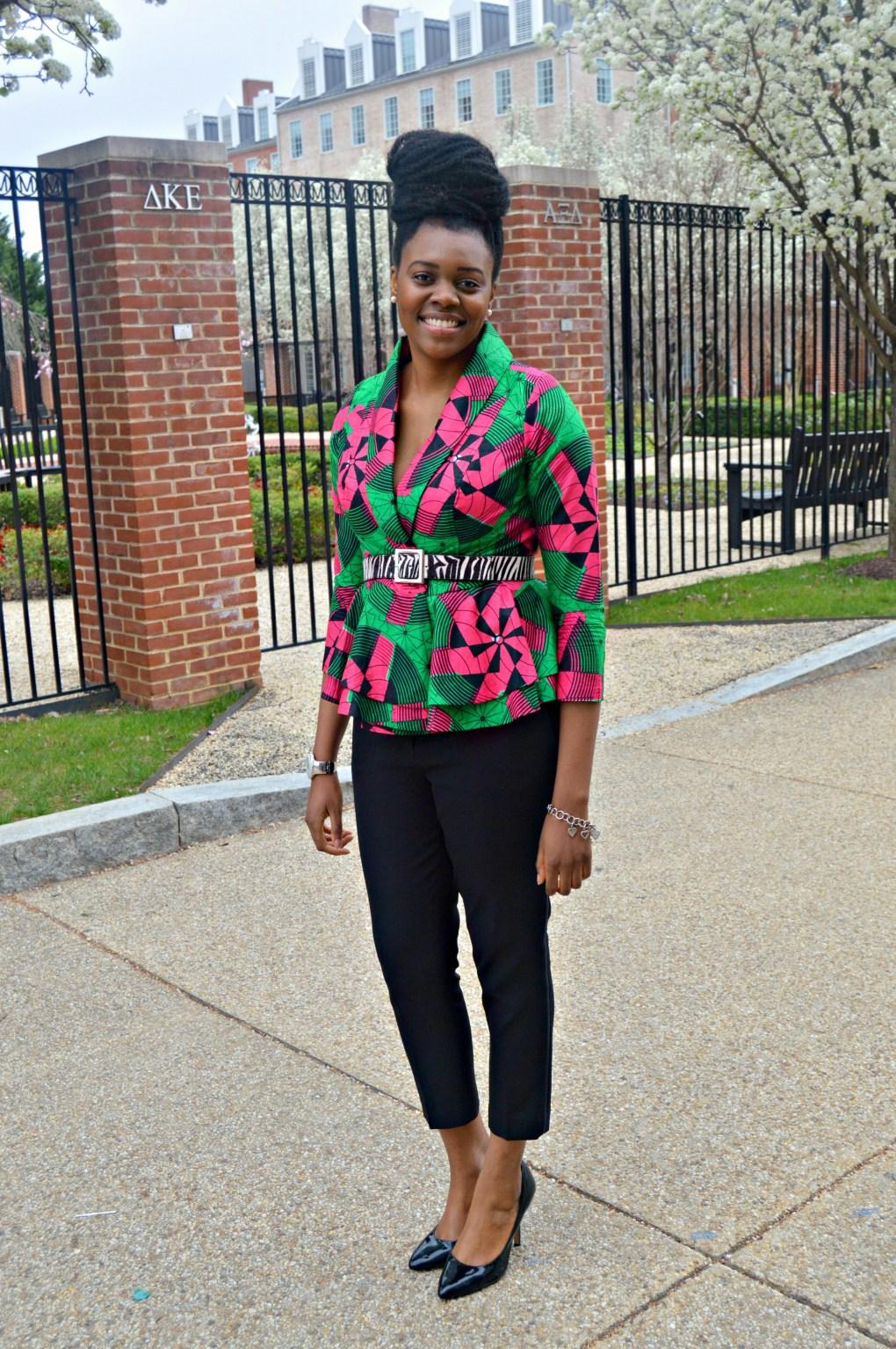 Nikki Billie Jean Pink and Green Ankara Print Peplum Jacket 8