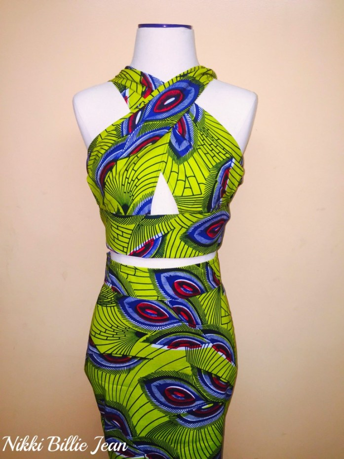 Kemi Ankara Print Cape Criss Cross Crop Top & High Waisted Pencil Skirt 2