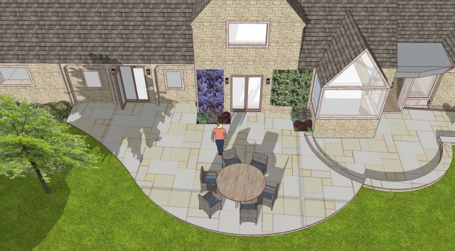 Cotswolds stone patio garden