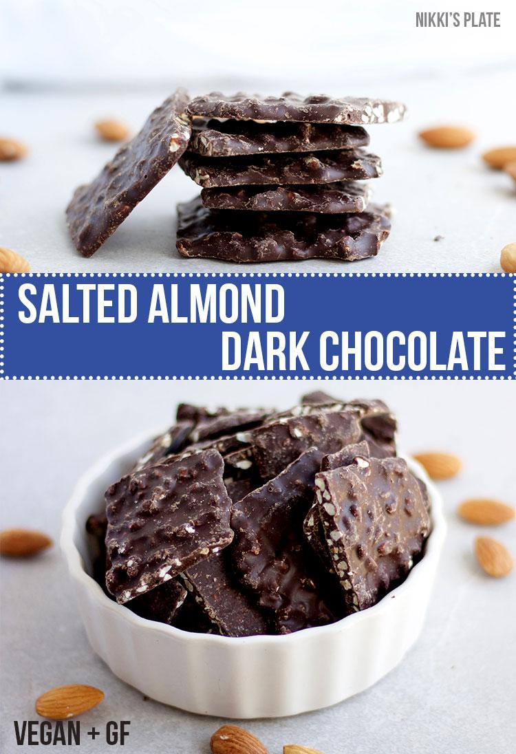 Vegan and Gluten Free - Salted Almond Dark Chocolate Bark - www.nikkisplate.com