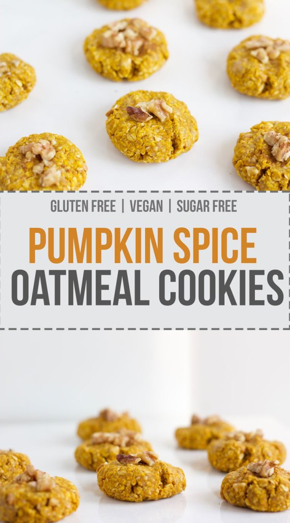 Healthy vegan and gluten free pumpkin spice oatmeal cookies - www.nikkisplate.com