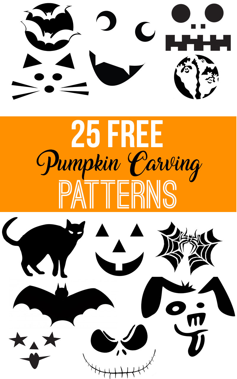 Free Printable Pumpkin Carving Patterns, Halloween Jack-o-lantern, PDF traceable