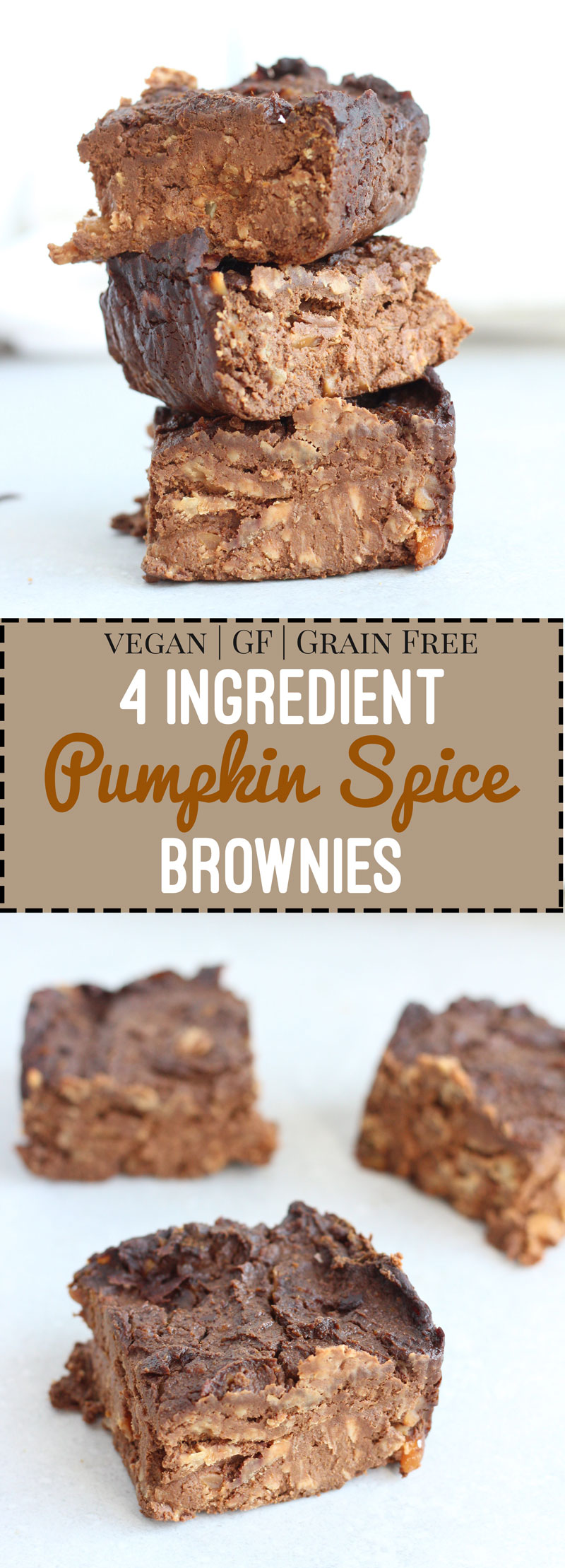 pumpkin spice, brownies, recipe, 4 ingredients, low carb, healthy, vegan, gluten free, dairy free, flourless, dessert, chocolate, autumn, fall, halloween - Nikki's Plate www.nikkisplate.com