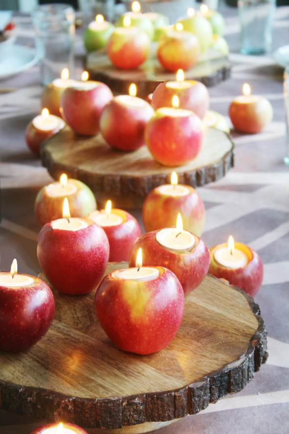 DIY Apple Candles || Great way to add some light to your Thanksgiving or Christmas Dinner Table!