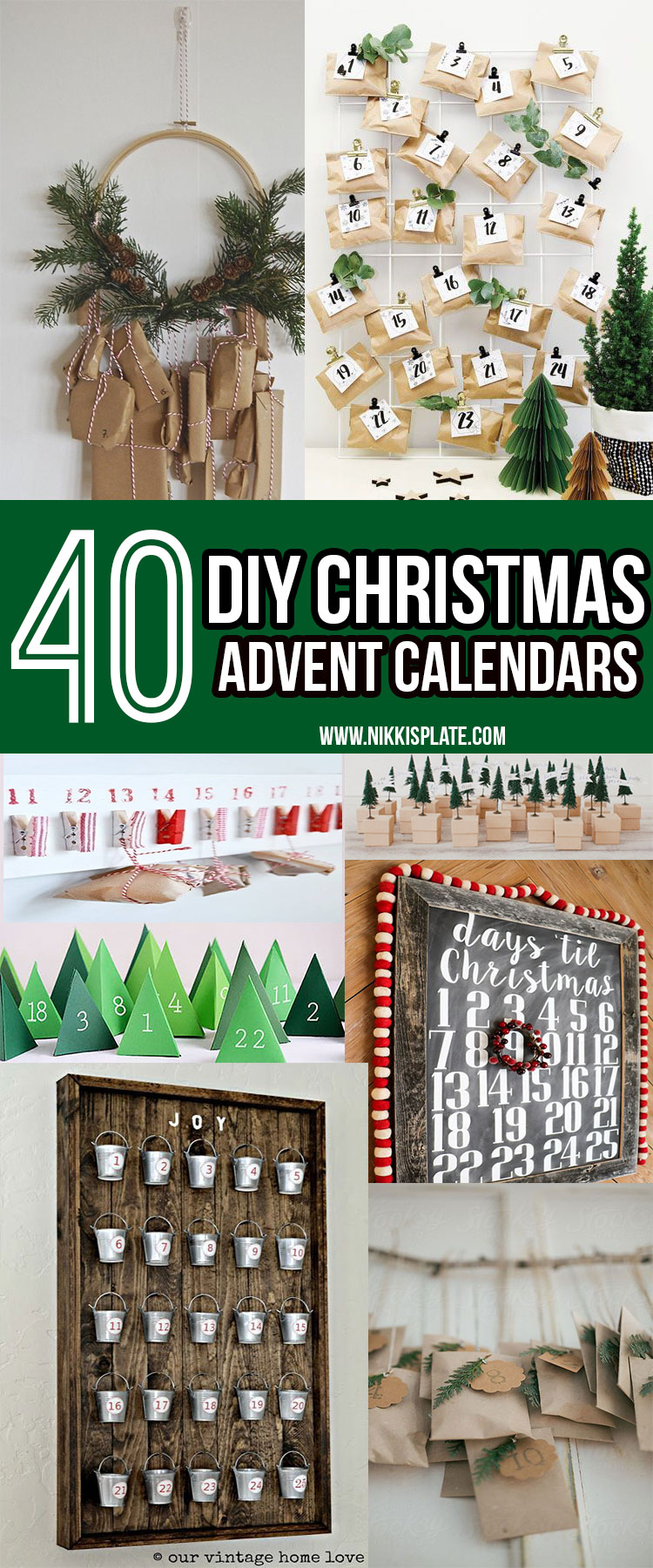 40 DIY Christmas Advent Calendars || Christmas decor, crafts and fun! || Nikki's Plate