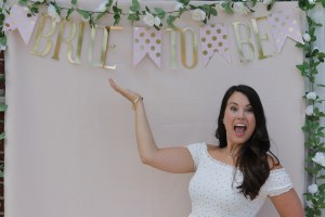 My Outdoor Bridal Shower; Pink, blush, gold and white. Games and greenery! Photo Booth backdrop display. Cookies, appetizers and special blush sangria. Decorating a small tent. Wedding, engagement, bride.