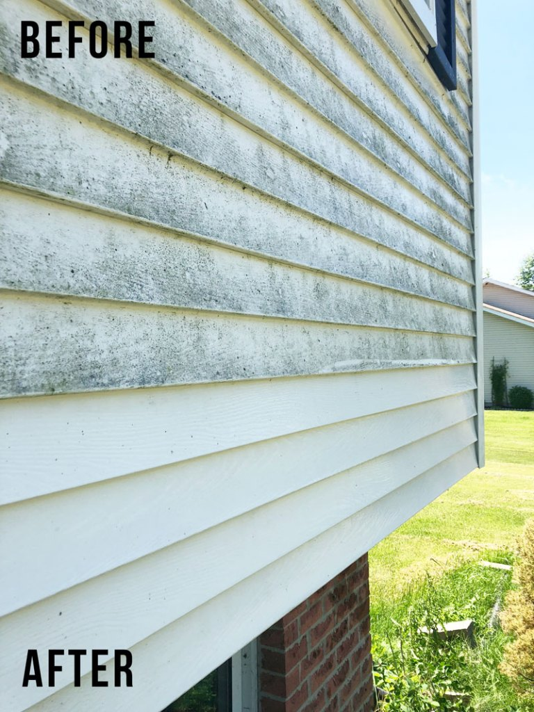 How To Clean Vinyl Siding; removing gross dirt from your house siding. Make your home exterior look fresh and new again!