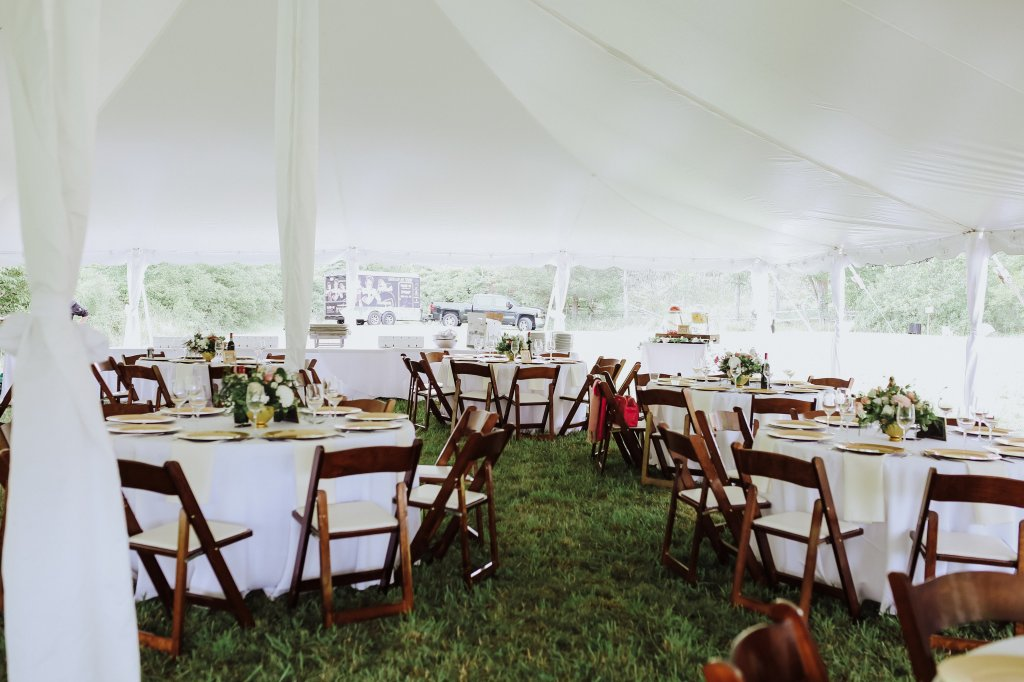 My Wedding Decor; Our outdoor wedding decor, greenery, ivory and blush florals, gold accents, rustic woods and a large barn! Rustic chic wedding reception outside! - www.nikkisplate.com