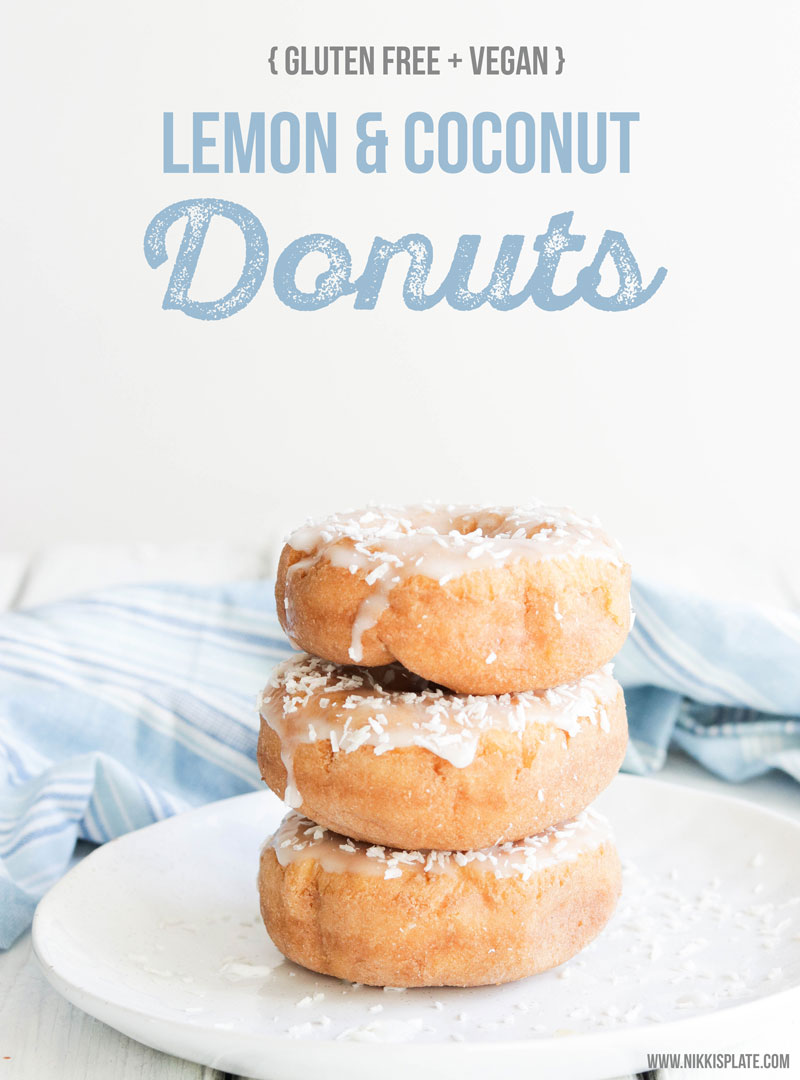 Lemon Coconut Donuts || GF and Vegan lemon coconut donuts. Soft and naturally sweetened. A healthier option to your usual morning donuts! Treat yourself to a soft, oat flour donut bursting with lemon and coconut flavours. Refined sugar free! #glutenfreedonuts #vegandonuts #donuts|| Nikki's Plate