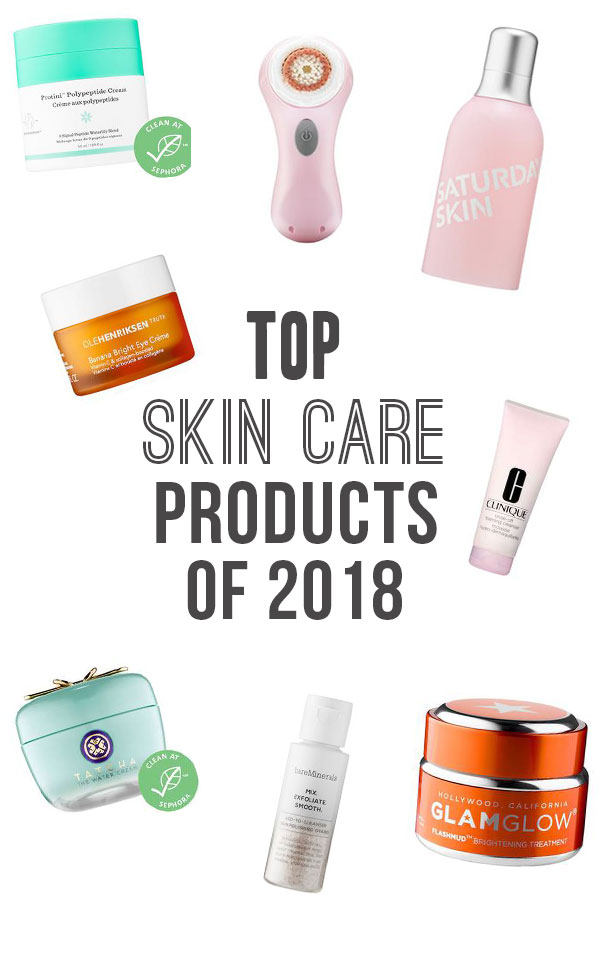 TOP SKIN CARE PRODUCTS OF 2018; the best cleanser, mask, toner, serum, eye cream, brush, moisturizer to brighten your skin and cause a radiant face#skincareproducts #skincare #moisturizer #facemask