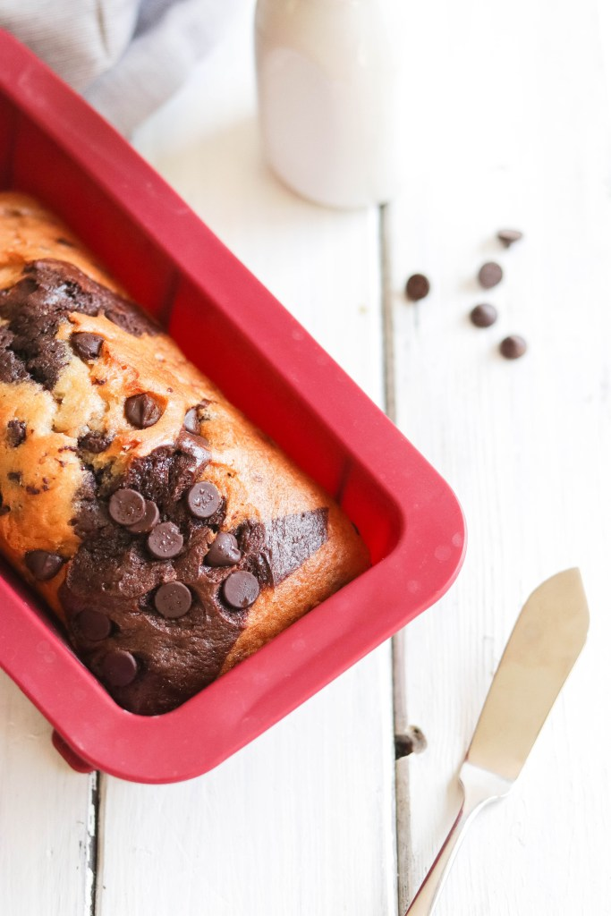 Quick and easy vegan chocolate swirl banana bread. Gluten free and dairy free. Health alternative to a sweet treat! Bake fresh or freeze dough for later use. Enjoy every moist soft chocolatey bite!